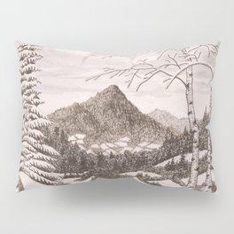 NORTHEAST SNOWFALL VINTAGE PEN AND PENCIL DRAWING Pillow Sham