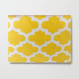 Yellow Cross Pattern Metal Print