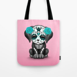 Cute Blue and Pink Day of the Dead Puppy Dog Tote Bag