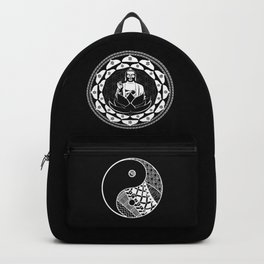 Buddha Black & White Yin & Yang Flower Of Life Backpack