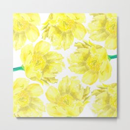 Yellow Peony Flower Pattern Metal Print