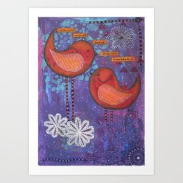 Whimsical Soul Birds Mixed Media Art Print