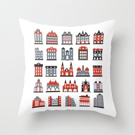 Colored silhouettes of city buildings on a white background Throw Pillow