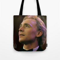 tom hiddleston Tote Bags featuring Tom Hiddleston by Wisp Wool