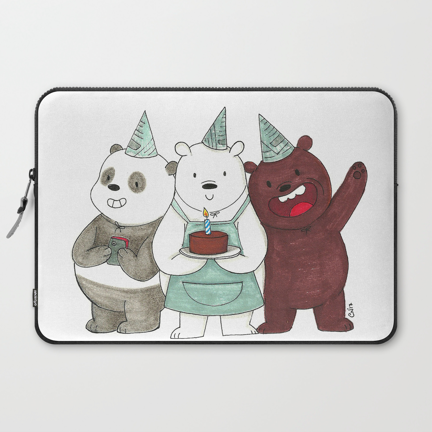 We Bare Bears Inspired Birthday Party Panda Ice Bear Grizzly Bear Laptop Sleeve By Conshillustration Society6