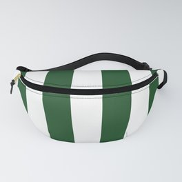 Jumbo Forest Green and White Rustic Vertical Cabana Stripes Fanny Pack