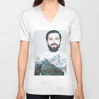 neil gaiman V-neck T-shirts featuring Simon Neil Mountains by madbiffymorghulis