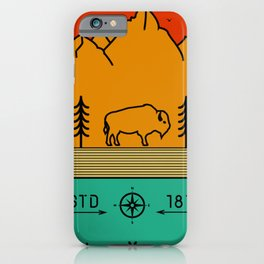 Yellowstone National Park Retro Wyoming USA Bison Buffalo iPhone Case