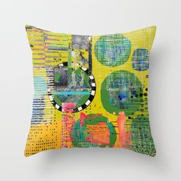 Colorful Circle Cut-out Abstract Art  Throw Pillow