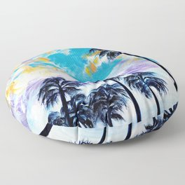 Oceanside Palm Trees Floor Pillow