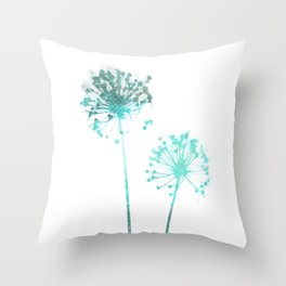 Aqua Blue Dandelion Minimalist Botanical Throw Pillow