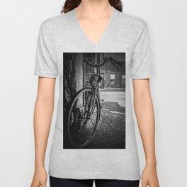 Black and White Bike Unisex V-Neck