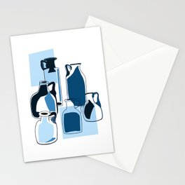 Blue vintage glass bottles  Stationery Cards