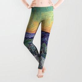 Vincent Van Gogh - A Walk at Twilight 1890 Artwork Reproduction Leggings