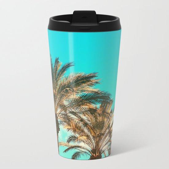 Tropical Palm Trees  - Vintage Turquoise Sky Metal Travel Mug