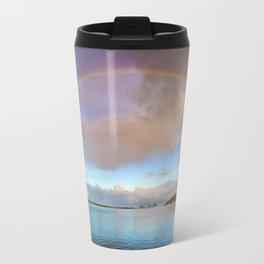 Rainbow over Three Arch Rock in Oceanside, Oregon Travel Mug