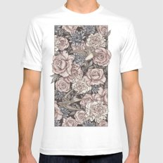 Flowers & Swallows MEDIUM White Mens Fitted Tee