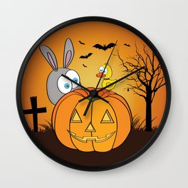 Halloween Rabbit and Duck Wall Clock