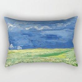 Wheatfield under thunderclouds by Vincent van Gogh Rectangular Pillow