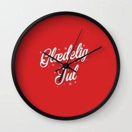 Glaedelig Jul Red Background Wall Clock
