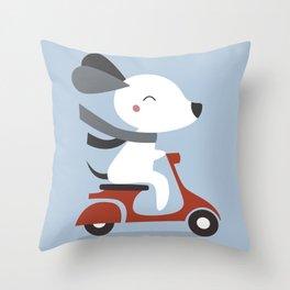 Kawaii Cute Dog Riding A Scooter Throw Pillow