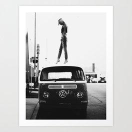 Girl, Car, Fashion art, Style, Scandinavian, Minimal, Trendy decor, Wall art Art Print