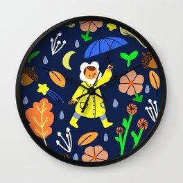 Rainy Walk Wall Clock