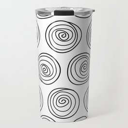 Hand Drawn Spirals Pattern (white) Travel Mug