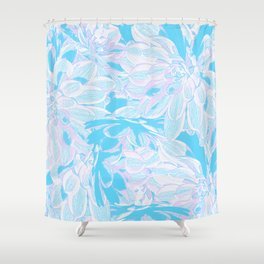Fresh Blue Flowers Pattern Shower Curtain