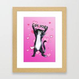 black and white cat yoga time! Framed Art Print