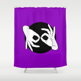 Sign Language (ASL) Interpreter – White on Black 06 Shower Curtain