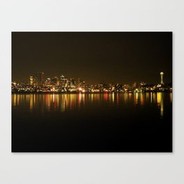 Seattle Skyline Night Canvas Print