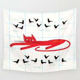Cat Amongst The Pigeons Wall Tapestry