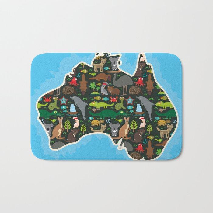 map of Australia. Wombat Echidna Platypus Emu Tasmanian devil Cockatoo kangaroo dingo octopus fish Bath Mat