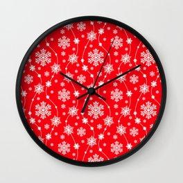 Christmas Red Snowflake Pattern Wall Clock