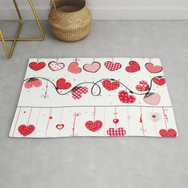 Heart Collections. Set hearts for Valentine's Day greeting card design element. Heart and line decorative border frame  Rug