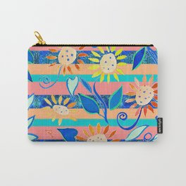 zakiaz cobalt flower stripe Carry-All Pouch