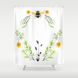 Bees in the Garden - Watercolor Graphic Shower Curtain