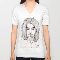 bjork V-neck T-shirts featuring Bjork by Paul Nelson-Esch Art