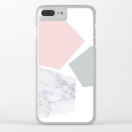 Blush, gray & marble geo Clear iPhone Case