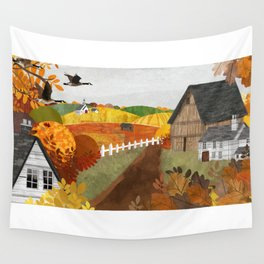 Autumn Village Wall Tapestry