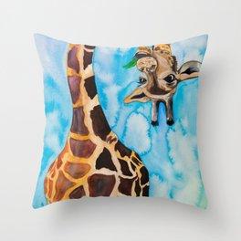 friendly giraffe Throw Pillow