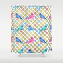 Birds and Spots Shower Curtain