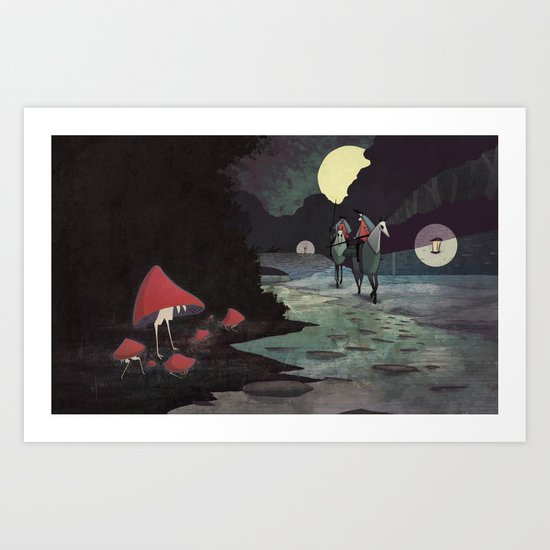 Mushroom Hunting Art Print