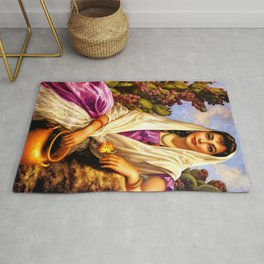 Jesus Helguera Painting of a Calendar Girl with Cream Shawl Rug