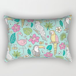 Tropical Jungle Birds Toucan Flamingo and Pink Hibiscus Floral Flowers Leaves Paradise Mint Rectangular Pillow