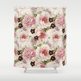 Small Vintage Peony and Ipomea Pattern - Smelling Dreams Shower Curtain
