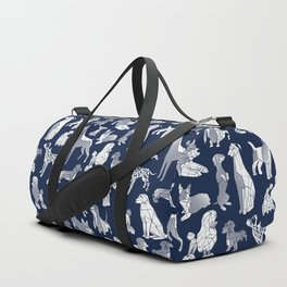 Geometric sweet wet noses // navy blue background white dogs Duffle Bag