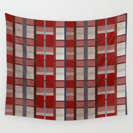 Retro red, blue, white and orange plaid pattern Wall Tapestry