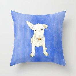 English bull terrier puppy pop art Throw Pillow
